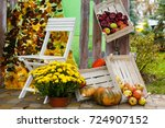 Autumn Flowers And Fruits In...