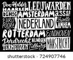 cities of netherlands. hand... | Shutterstock .eps vector #724907746