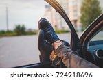 man sleeping in his car  tired... | Shutterstock . vector #724918696