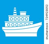 big ship icon white isolated on ... | Shutterstock . vector #724923052