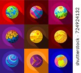 fantastic planets icons set.... | Shutterstock . vector #724924132