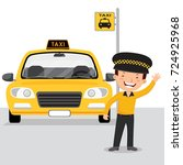 taxi driver and yellow cab | Shutterstock .eps vector #724925968
