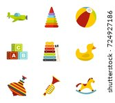 kid toys icons set. flat set of ...   Shutterstock . vector #724927186