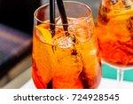 aperol spritz cocktail in glass   Shutterstock . vector #724928545