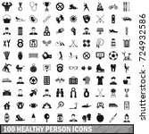 100 healthy person icons set in ... | Shutterstock . vector #724932586