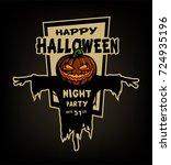 happy halloween. pumpkin head... | Shutterstock .eps vector #724935196
