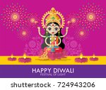 happy diwali festival card with ... | Shutterstock .eps vector #724943206