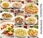 collage of original italian... | Shutterstock . vector #724953796