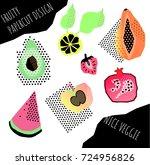 1980 style fruity and vegan...   Shutterstock .eps vector #724956826