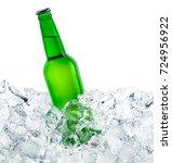 green bottle of beer on ice... | Shutterstock . vector #724956922