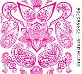 henna tattoo mehndi flower... | Shutterstock .eps vector #724962706