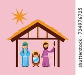 merry christmas holy family... | Shutterstock .eps vector #724976725