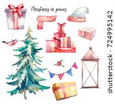 christmas illustrations set.... | Shutterstock . vector #724995142