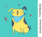 cute funny dog in love vector... | Shutterstock .eps vector #724998328