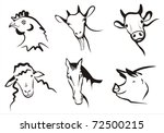agriculture,animal,artistic,black,business,chicken,clipart,collection,cow,design,face,farm,farmer,farming,goat