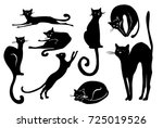 Stock vector black cat icon element set for halloween 725019526