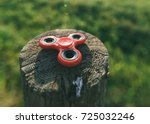 red spinner on a close up stump.... | Shutterstock . vector #725032246
