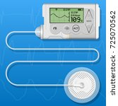 insulin infusion pump on... | Shutterstock .eps vector #725070562