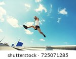young man jumping   fitness ... | Shutterstock . vector #725071285