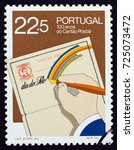 portugal   circa 1986  a stamp... | Shutterstock . vector #725073472