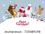 christmas party in the winter... | Shutterstock .eps vector #725089198
