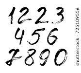 set of calligraphic numbers... | Shutterstock .eps vector #725109556