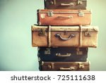 vintage ancient luggage... | Shutterstock . vector #725111638