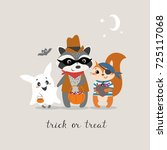 cute halloween greeting card... | Shutterstock .eps vector #725117068