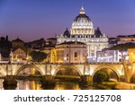 night view of  the vatican dome ... | Shutterstock . vector #725125708