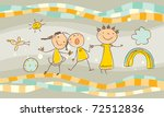 happy kids playing in group - stock vector