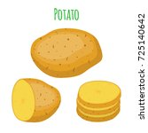 potatoes set  brown tasty...   Shutterstock .eps vector #725140642