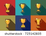 set flat icon golden trophy... | Shutterstock .eps vector #725142835