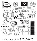 set of movie doodle isolated on ... | Shutterstock .eps vector #725156425