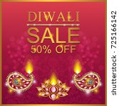 happy diwali festival card with ... | Shutterstock .eps vector #725166142