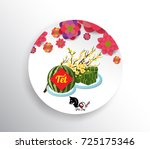 cooked square glutinous rice... | Shutterstock .eps vector #725175346