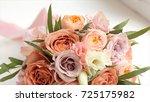 wedding bouquet of roses. bride'... | Shutterstock . vector #725175982