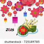 cooked square glutinous rice...   Shutterstock .eps vector #725189785