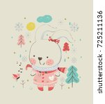 cute christmas bunny. hand... | Shutterstock .eps vector #725211136
