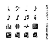 musical notes  sound waves and... | Shutterstock .eps vector #725213125