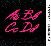 80s retro futuristic font.... | Shutterstock .eps vector #725223862