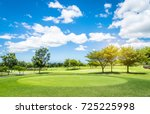golf course with blue sky...   Shutterstock . vector #725225998