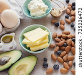 keto  ketogenic diet   low carb ... | Shutterstock . vector #725226472