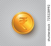 gold coin with rupee sign on a... | Shutterstock .eps vector #725228992