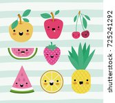 kawaii fruits set collection on ... | Shutterstock .eps vector #725241292