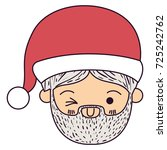santa claus kawaii face wink...   Shutterstock .eps vector #725242762