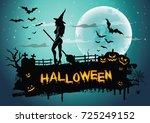 halloween night background...   Shutterstock .eps vector #725249152