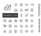 insurance icon set vector... | Shutterstock .eps vector #725253922