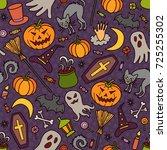 halloween. seamless pattern of... | Shutterstock .eps vector #725255302