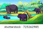 Group Of Hippopotamuses Near...