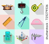measure tools icons set. flat... | Shutterstock . vector #725279536